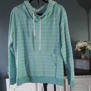 Hooded turquoise sweater